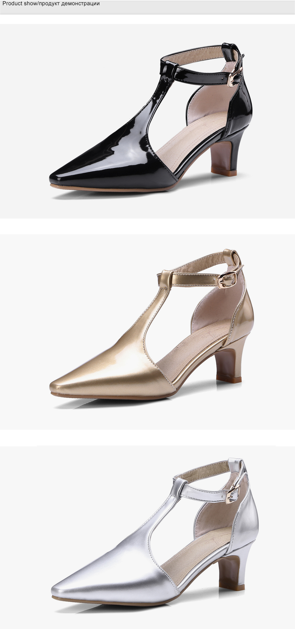 Shoes Woman High Heels Mary Jane Pointed Toe Women Pumps Brand Ankle Strap Summer Shoes Thin Heel Black Plus Size New Arrvial DE 3