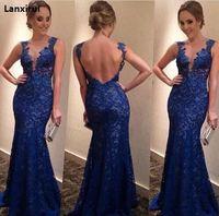 Lanxirui женское сексуальное кружевное длинное платье с глубоким v-образным вырезом без рукавов Синие красные вечерние платья с открытой спино...