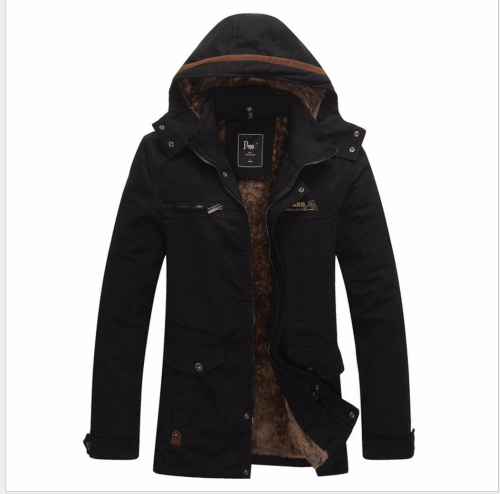 ФОТО M-4XL Winter new men 's casual jacket hooded velvet thicken Slim jacket warm long cotton coat Parkas plus size clothing