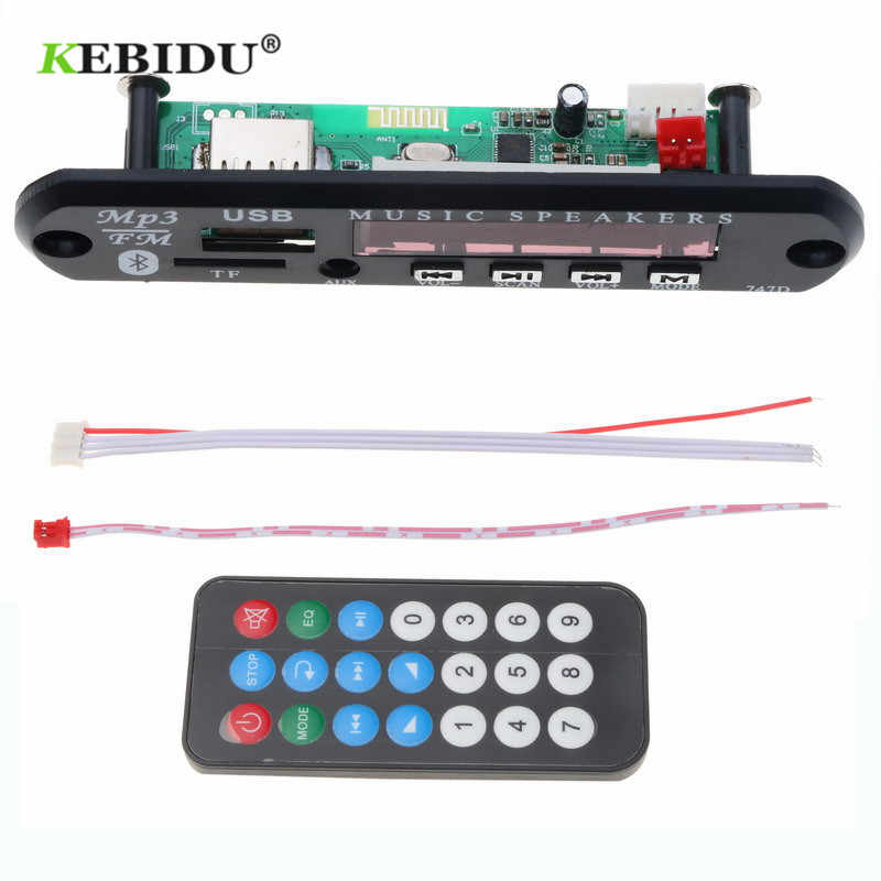 Kebidu 5V 12V Auto USB Bluetooth Audio Module USB FM Aux Radio MP3 WMA Decoder Board met Afstandsbediening controle ingebouwde Auto Speaker
