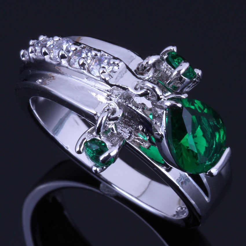 Incredible Water Drop สีเขียว Cubic Zirconia สีขาว CZ 925 แหวนเงินผู้หญิง V0400