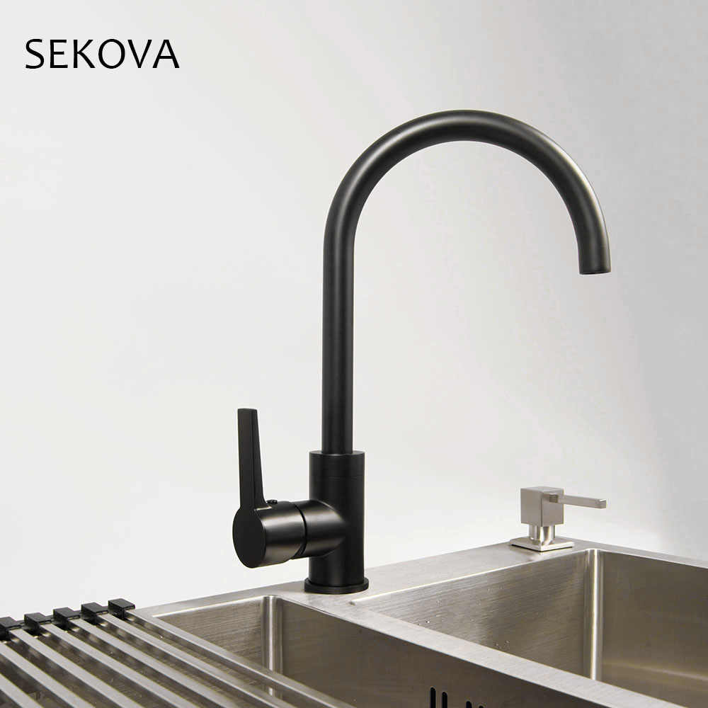 matte black stainless steel kitchen sink faucet hot cold water mixer deck mounted kitchen tapware