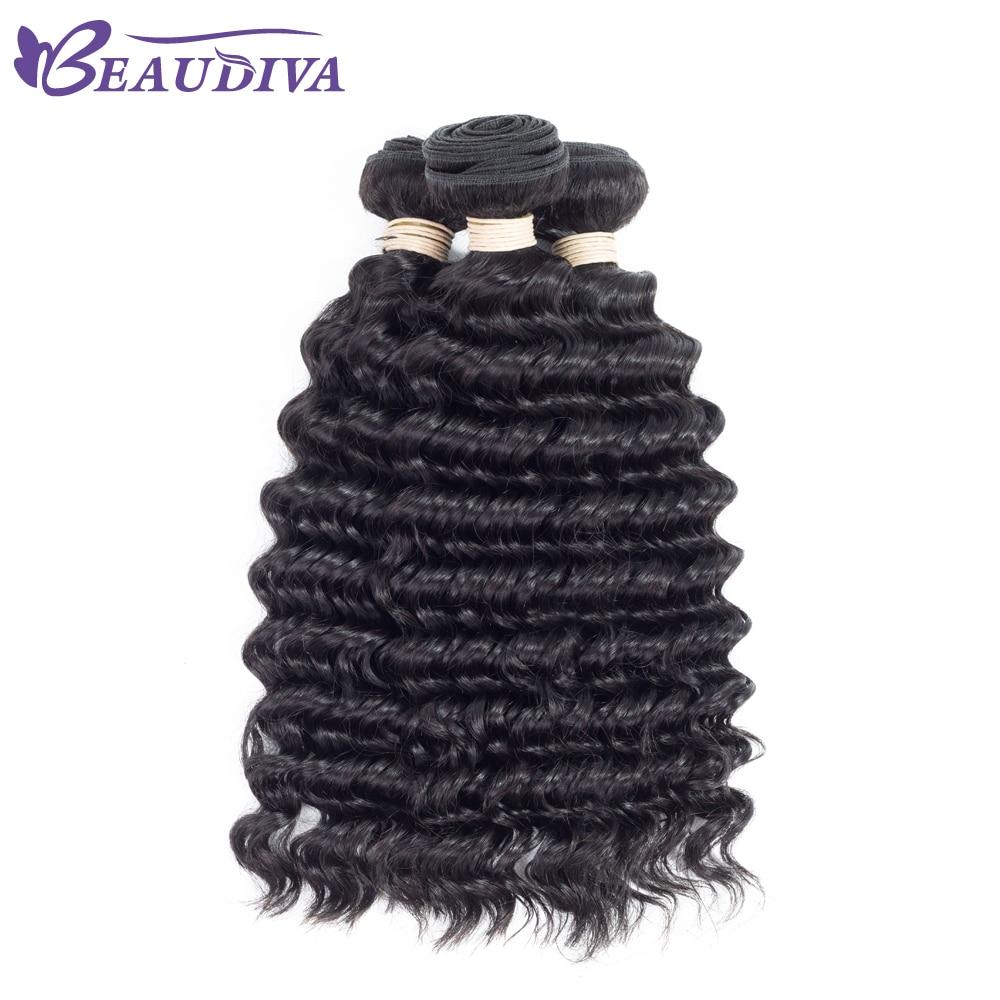 BEAUDIVA Pre-Colored Human Hair Weave Peruvian Deep Wave 1B Natural Black Peruvian Human Hair Weave Bundles 10-24inch