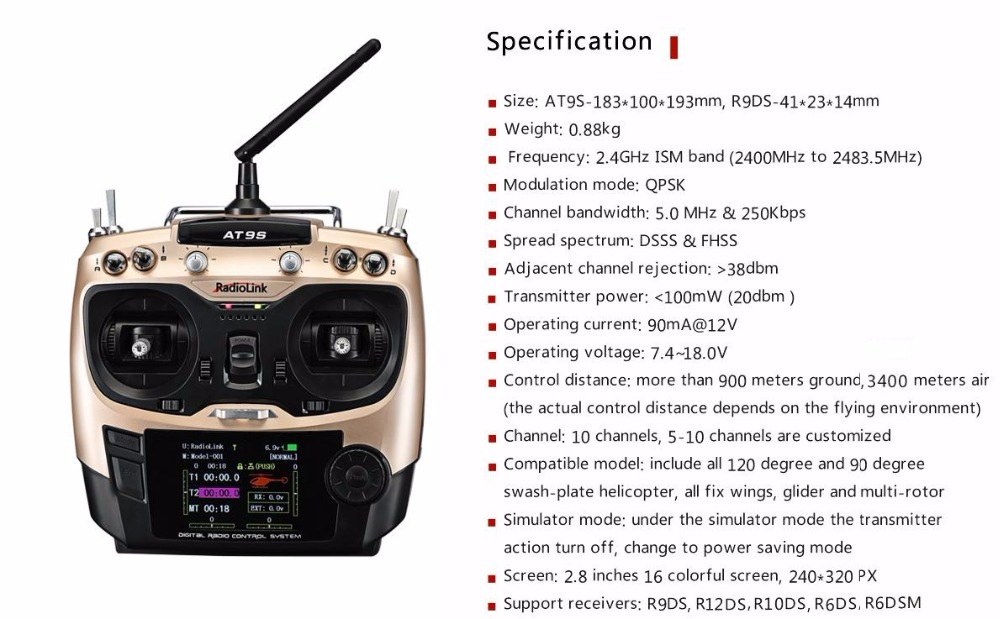 Radiolink AT9S R9DS Radio <font><b>Remote</b></font> <font><b>Control</b></font> System DSSS FHSS 2.4G 10CH Transmitter Receiver for RC Helicopter/RC BOAT image