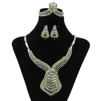 2017 Creative Jewelry Dubai Silver Plated Big Jewelry Sets Nigerian Fashion Wedding Indian Crystal Wheat Costume