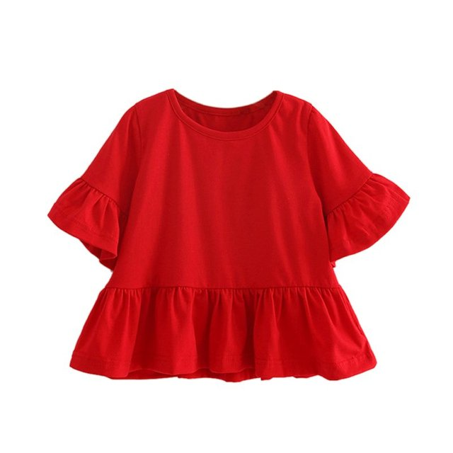 4e8d28f2df4 Cute Toddler Girls Short Puff Sleeve Cotton Round Neck Tops Solid Red  Clothes Baby Blouse