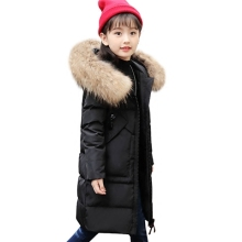 2018 New Girls Duck Down Padded Outerwear & Coats 2018 Winter Children Warm Clothes Fashion Natural Fur Collar Jacket SnowSuits