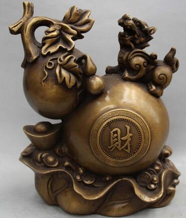 0 10 Chinese Feng Shui Bronze Wealth Money Yuanbao Calabash Gourd PiXiu Statue0 10 Chinese Feng Shui Bronze Wealth Money Yuanbao Calabash Gourd PiXiu Statue