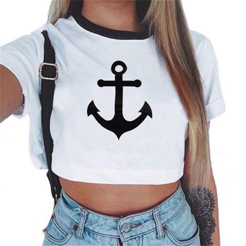 Hai Yao Anchor Letter Print T-Shirt Women 2017 Sexy Short Sleeve Cotton Crop Tops Slim O-Neck White Summer Shirts Plus Size Casual 40@W