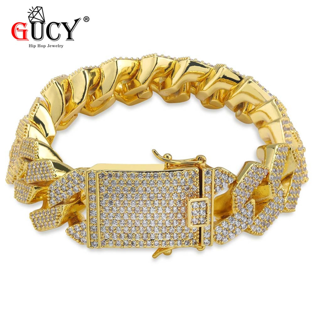 GUCY Hip Hop Bracelet Gold Silver Color Plated Micro Pave CZ Stones All Iced Out Link