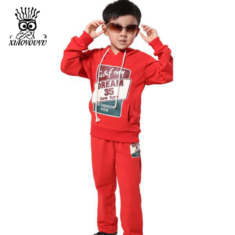 8e6ba159031 XIAOYOUYU 2016 Spring New Children Casual Boy Active Sets Size 130 165cm  Sports Hoodies   Pants Print Design Kids Clothing Suits-in Clothing Sets  from ...