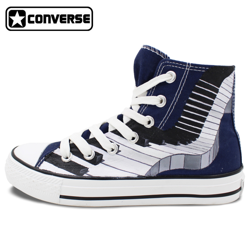 купить  Original Design Piano Converse Chuck Taylor High Top Hand Painted Shoes Man Woman Custom Canvas Sneakers Women Men Gifts  онлайн