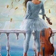 Женщина, играющая в Виолончель, ручная роспись, креативная цифровая картина маслом, 24 цвета, пигментная кисть, сделай сам, живопись по номеру