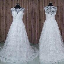 Tanie dwa kawałki Vestido De Noiva z prawdziwymi zdjęciami 2 em 1 ślubna sukienka z rękawami Cap Sleeve Lace Illusion suknia ślubna Robe de Soiree