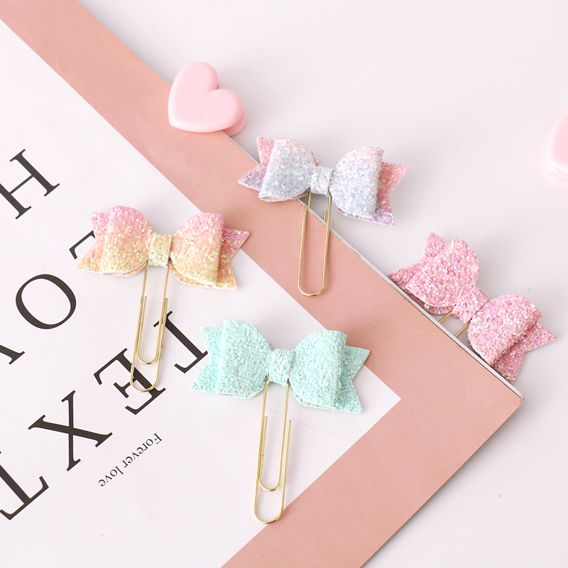 4pcs Pink Paper Clips Gradient Color Bow Paper Needle Bookmark Metal Memo Stationery Binder Clips Decoration Scrapbooking