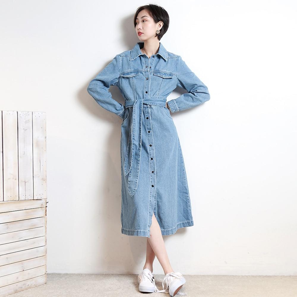 2018 Printemps Nouvelle robe En Jean Chemise À Manches Longues Femmes robes de grande taille décontracté Robe De Mode Avec Ceinture Vêtements femme ER191