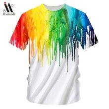 2019 new  Hot Sale Men's T-Shirt Fashion Street Hip Hop Harajuku Men's 3D Color Paint Print Short Sleeve Round Neck T-Shirt Men