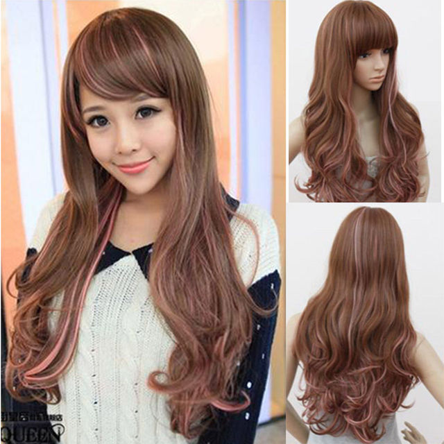 New Super Smooth Long Wavy Brown Wig With Pink Highlights Hair Wig