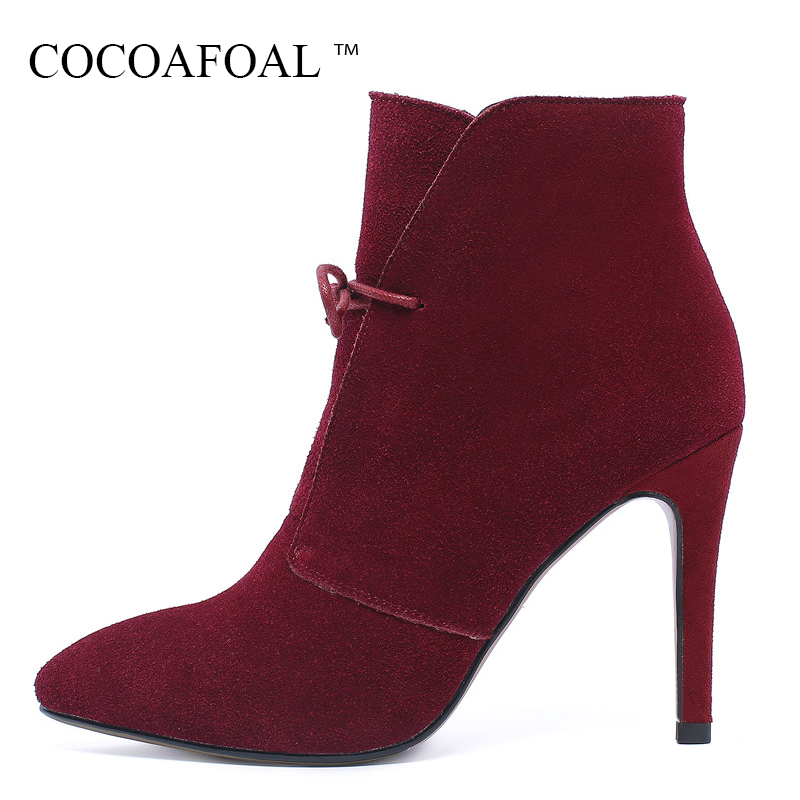 COCOAFOAL Genuine Leather Lace Up Martin Boots Plus Size 41 43 Fashion Black High Heeled Shoes Woman Autumn Winter Chelsea Boots lovexss woman genuine leather ankle boots autumn winter high heeled shoes fashion plus size 32 43 black work chelsea boots