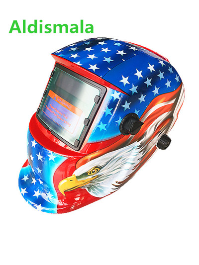Aldismala Schweißen Helm Beste Optische Qualität 1/1/1/1 Große Ansicht Größe 96x48mm Schweißen Maske Kopf-montiert Automatische Einstellbare Maske
