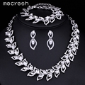 Mecresh Elegant Clear Crystal Bride Jewelry Sets Leaf Choker Necklace Earrings Bracelet for Women Parure Bijoux Femme 3TL076