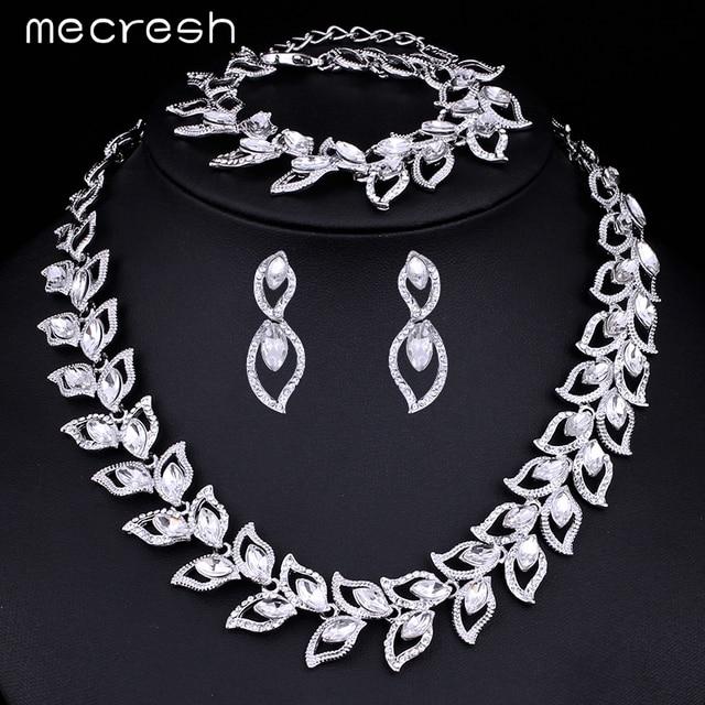 Elegant Clear Crystal Bridal Jewellery Set Necklace, Earrings & Bracelet