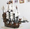2017 LEPING 16002 Пиратский Корабль Металла Борода's Морская Корова Модель Строительство Комплекты мини DIY Блоки Кирпичи Игрушки Совместимость 70810