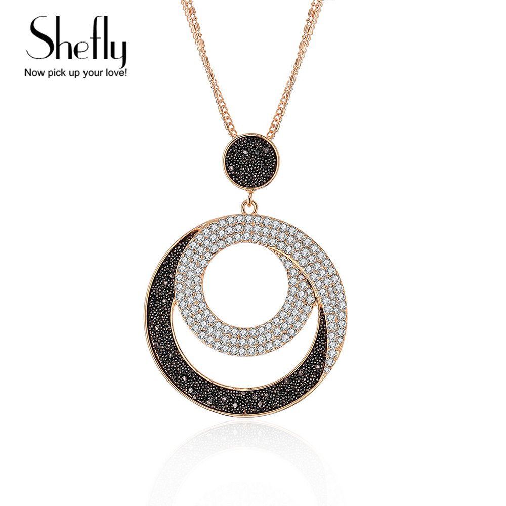 2018 Vintage Woman Geometric Big Circle Crystal Crystal Pendant Necklaces Long Snake Chain Fashion Jewelry Accessories