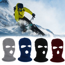 3 Hole Knit Motorcycle Balaclava Mask Full Face Cap Outdoor Winter Sports Cold Protection for Ski Bicycle Riding Windproof(China)