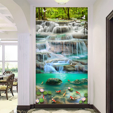 3D Waterfall Wall Painting Wallpaper
