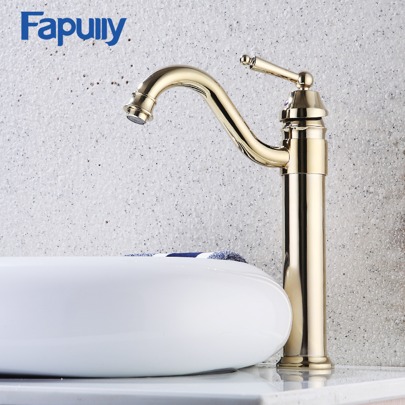 Fapully Bathroom Faucets Golden Single Handle Hot And Cold Basin Faucet Gold Finish Brass Mixer Tap Tall Bathroom Sink Faucet sognare pull out basin faucets golden finish cold and hot bathroom sink faucet solid brass single handle basin mixer tap crane