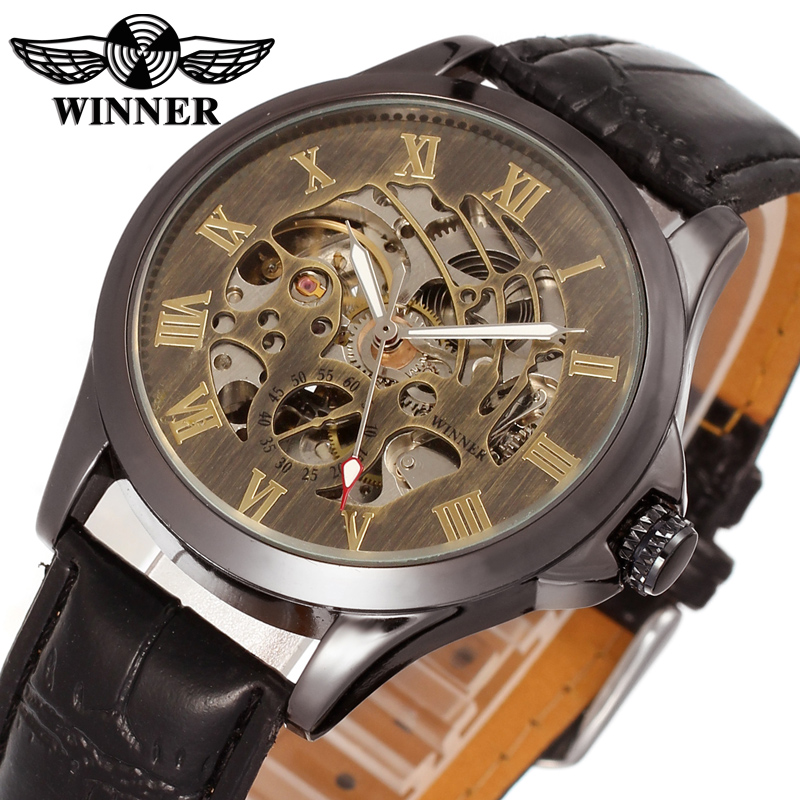 WINNER Men Luxury Brand Vintage Brass Color Skeleton Leather Band Watch Automatic Mechanical Wristwatch Gift Box Relogio Releges