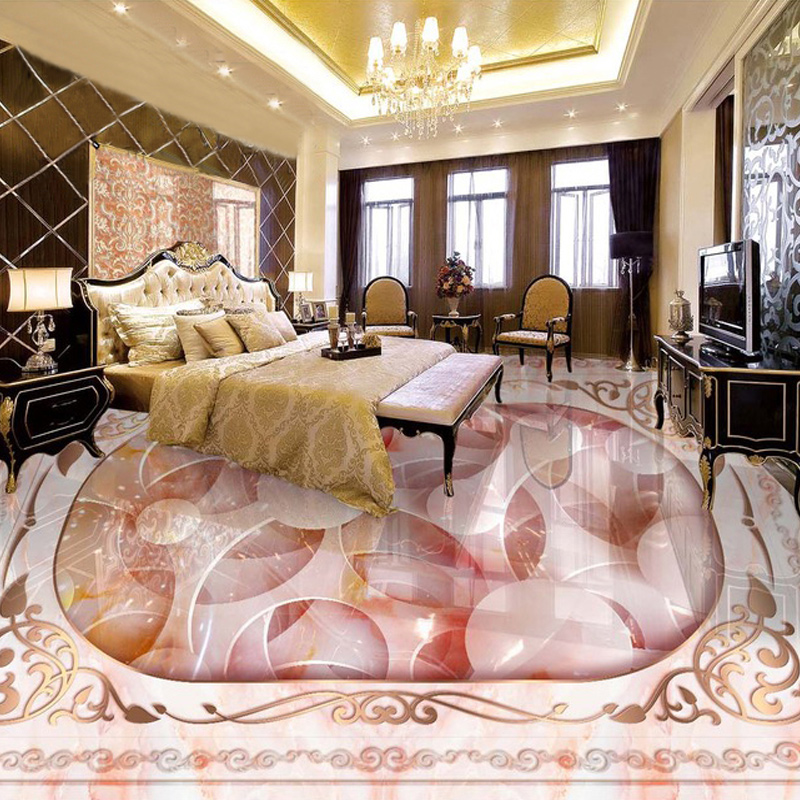 Custom Floor Mural 3D Stone Grain Jade Carving Living Room Bedroom Bathroom Floor Sticker PVC Thickened Self-adhesive Wallpaper  custom 3d floor painting wallpaper stone steps sunshine pvc self adhesive living room bedroom bathroom floor sticker wall mural