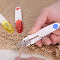 Safety Portable Yarn Scissors With Lid Plastic Handle Tailors Embroidery Tool Sewing Thread Cutter Cross Stitch Scissors E2S