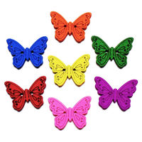 ZIEENE 700PCs 1000PCs Mixed 7 Colors Colorful butterfly Wooden Buttons DIY Sewing Scrapbooking For Kids Handmade 2 Holes 24x18mm