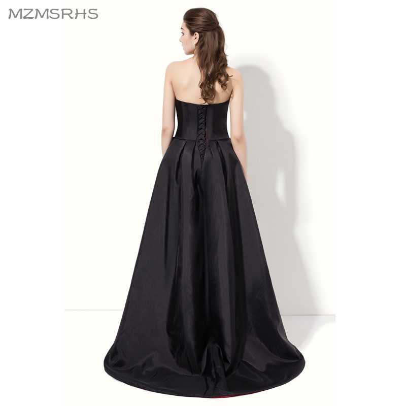872d854fae6 Elegant Strapless Black Red Prom Dresses 2017 High Back Low Front Satin A Line  Formal Evening Gown vestido de festa-in Prom Dresses from Weddings   Events  ...