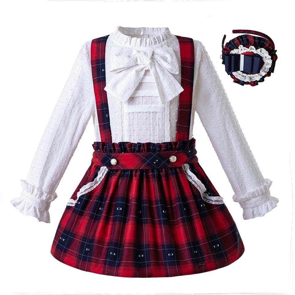 Pettigirl Baby Girls Red Clothing Set Double Row Pleated Cuffs Boutique  White Top Plaid Skirts Baby 7ff6d88f80ad