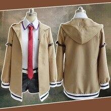 Steins Gate Costume de Cosplay japonais, uniformes de Cosplay Kurisu Makise, ensemble complet, manteau et jupe à cravate, sur mesure