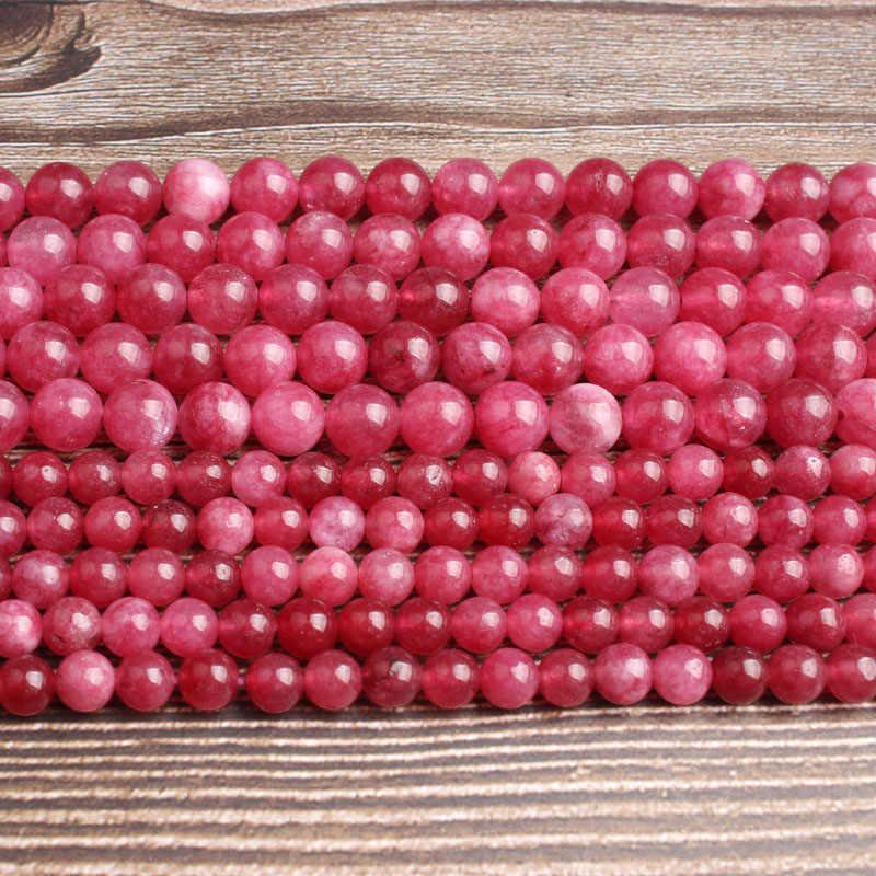 LanLi เครื่องประดับธรรมชาติ 6/8mm rose red jades หลวมลูกปัด DIY ผู้ชายผู้หญิงสร้อยข้อมือสร้อยคออุปกรณ์เสริม