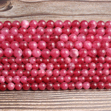 LanLi  natural jewelry 6/8mm  rose red  jades  loose Beads DIY men and women Bracelet Necklace  anklet Accessories