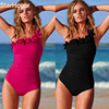 2017 New Solid Women Swimwear Sexy Halter One Piece Swimsuit Retro Biquini Bathing Suit Beach Suits