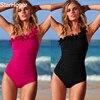 2017 New Solid Women Swimwear Sexy Halter One Piece Swimsuit Retro Biquini Bathing Suit Beach Suits