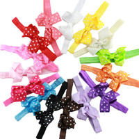 15 Pcs Set Ribbon Polka Dot Hair Bows Headband Baby Girl Hair Accessories Children Hair Bow