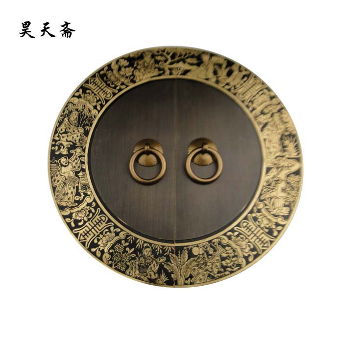[Haotian vegetarian] Chinese antique furniture copper door handle lock piece Ming HTB-256 Immortals Yoshihisa [haotian vegetarian] antique copper door handle chinese handle htb 179 custom models diameter 14cm