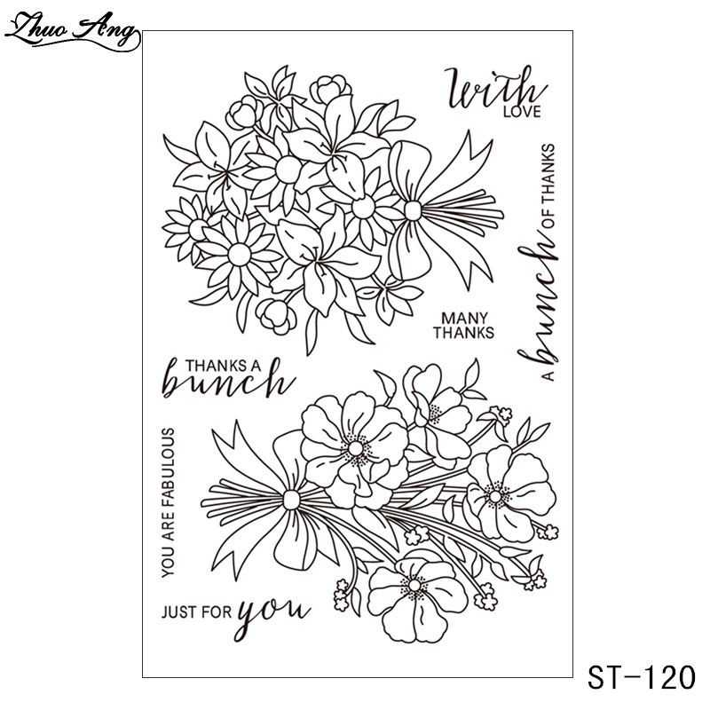 ZhuoAng Bunch of Flowers Clear Stamps and Cutting Dies Set for Scrapbooking Photo Album Card Making DIY Decoration Supp in Stamps from Home Garden
