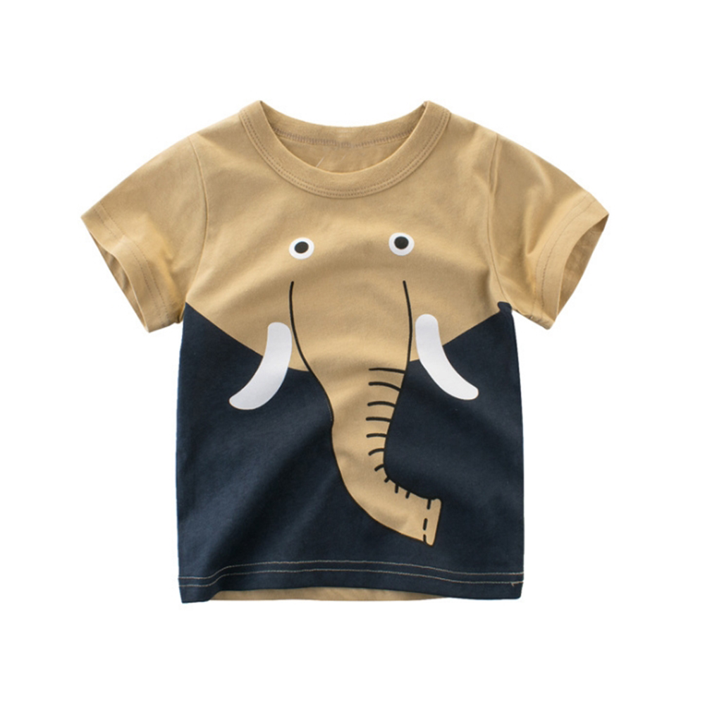 Cysincos 1-8y Kinderen Nieuwigheid Top Fashion Cartoon Olifant Katoenen Kleding Baby Dier T-shirt Kleding Peuter Zomer T-shirt