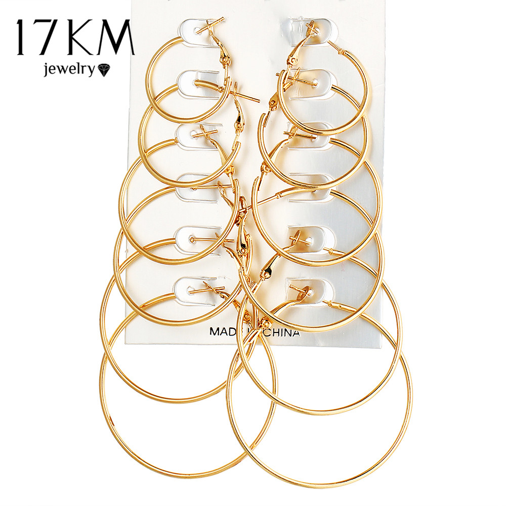 17KM 6 Par / set Pendientes de aro de círculo grande de color dorado vintage para mujeres Steampunk Ear Clip Party Jewelry Accessories Gift