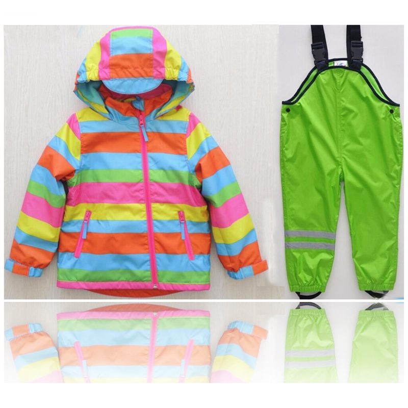 Male girl in autumn and winter child windproof waterproof baby clothes set child thickening outdoor ski