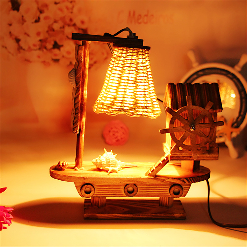 grocery Home retro wooden  decoration creative handmade Valentine Gift bedroom Table Lamps LO8216
