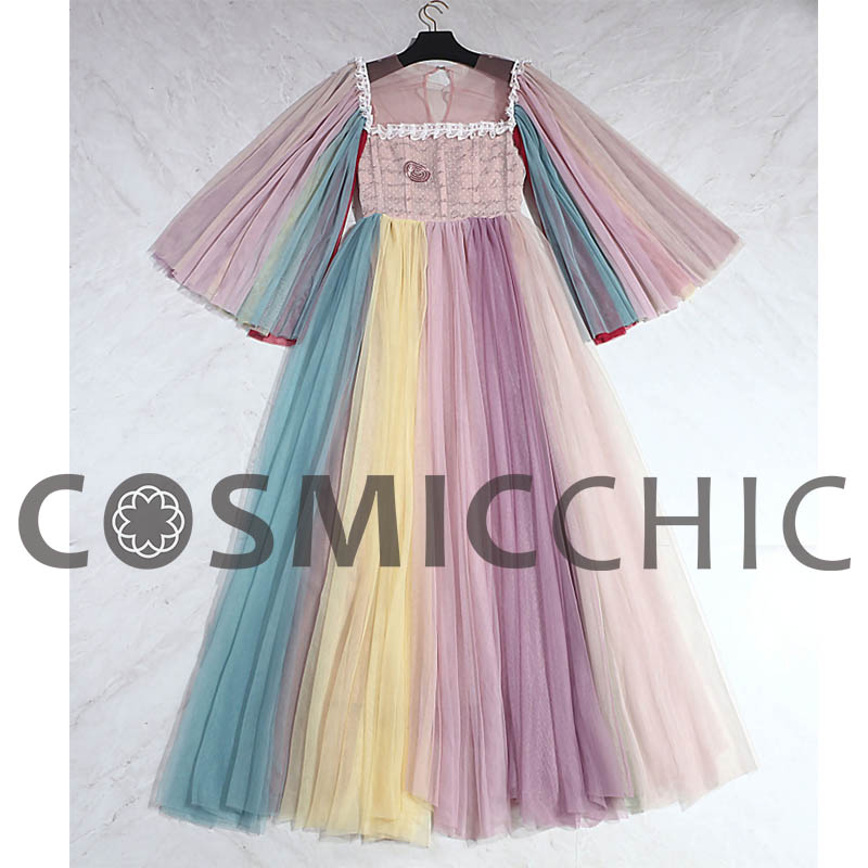 Robes Tulle Longues Palace Manches Couture Color De Macaron Broderie Dentelle Robe Haute Couleur Party Flare Ly229 Maxi Cosmicchic Bal wSZgEq
